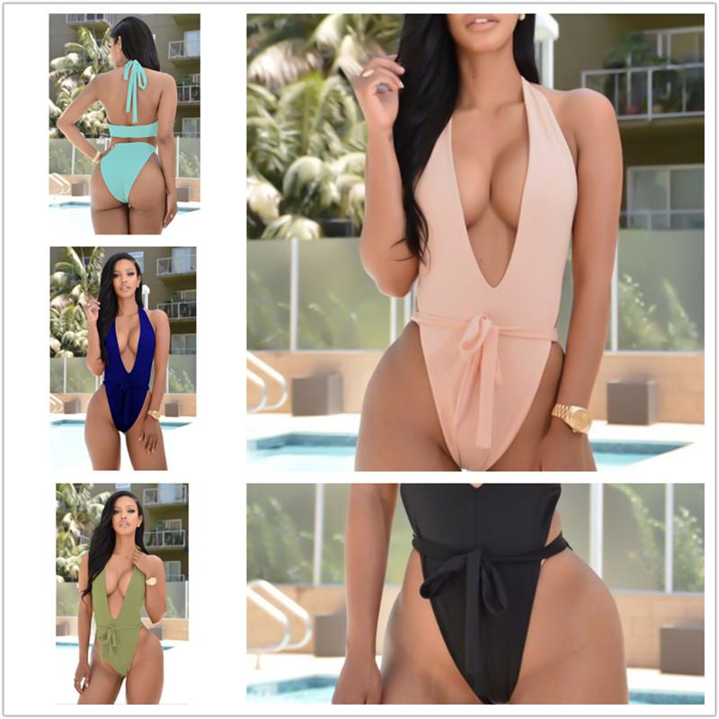 5 Colors S-XL New Sexy Women Bodysuit V Neckline One Piece Tie Playsuit Jumpsuit Overalls beach Club Wear Bodysuits XD595(China (Mainland))