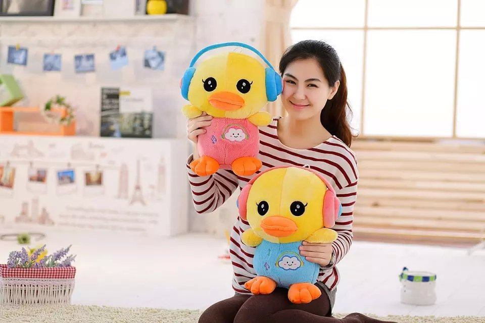 40cm lovely duck plush toy , headset love duck toy soft pillow birthday gift a1261(China (Mainland))