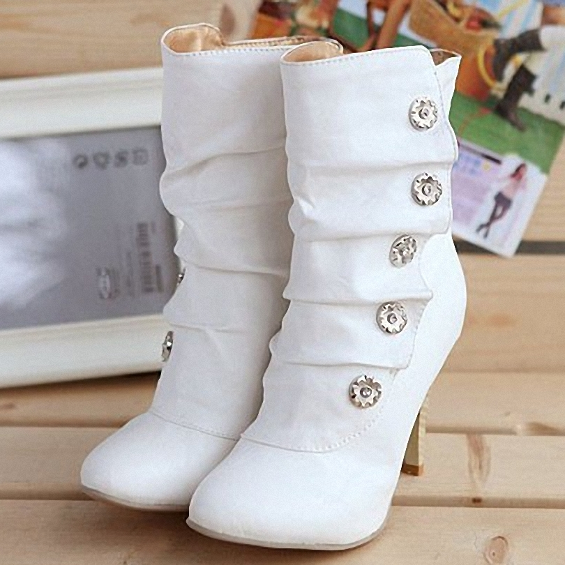 On Sale Winther New Sexy Style High Heel PU Mid Calf Boots Ladies' Lovely Fashion Snow Shoes 3 Colors(China (Mainland))