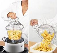 Best-selling 1Pc Foldable Steam Rinse Strain Fry Chef Basket magic basket mesh basket Strainer Net Kitchen Cooking Tool HO871046