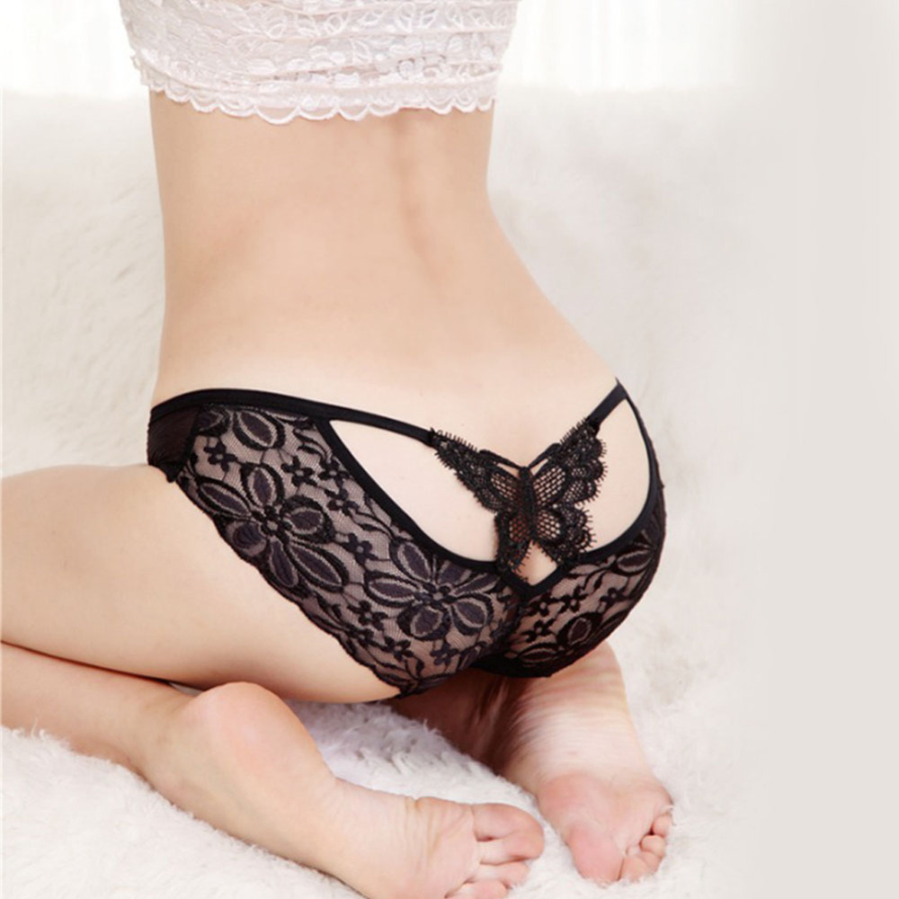 Women Girls Black Lace Butterfly Hipster Transparent Sexy Intimates Underwear Lingerie Shorts Panties Thong G String Hot Sale(China (Mainland))