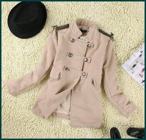 Free shipping 2012 women's classic double breasted wool jacket shoulder epaulet tassel Brit style camel woolen coat SH-149