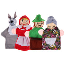 BS#S 4pcs Finger Puppets Doll Plush Toys Little Red Riding Hood Wooden Headed Fairy Tale Story Puppets Free Shipping(China (Mainland))