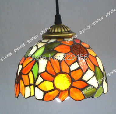 Tiffany Stained Glass Lampshade Pendant Light Country Style Sunflower Pattern Luminaire Lamparas Lustre E27 110-240V(China (Mainland))