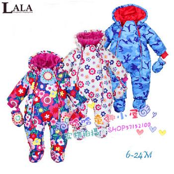 Ребенок - snowsuit, Лала 2015 снег носить новорожденного марка осень зима snowsuit шелка младенца хлопка одежда верхняя одежда детская костюм