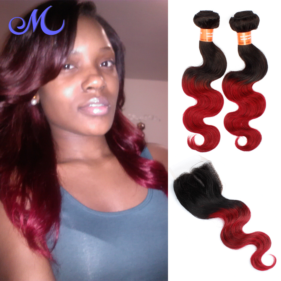 Brazilian Human Hair Body Wave With Closure Ombre Brazilian Ombre Body Wave Hair 1b/burgundy Ombre Brazilian Hair With Closure