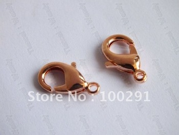 Free ship! 500pcs 16mm Rose copper Jewelry Claw Lobster Clasp Necklace Bracelet Hooks