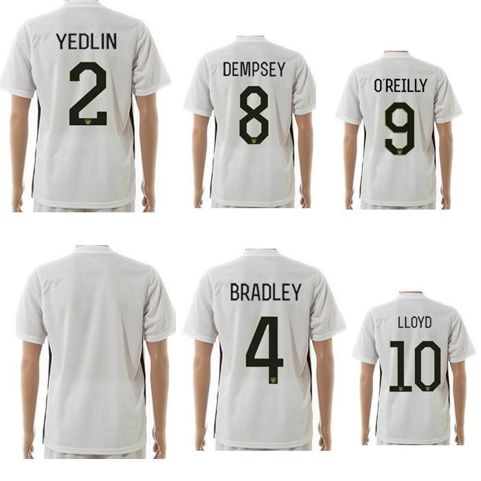 2015 16 season home yellow #2 YEDLIN #4 BRADLEY #8 DEMPSEY soccer football jersey contain logos customise number free shipping(China (Mainland))