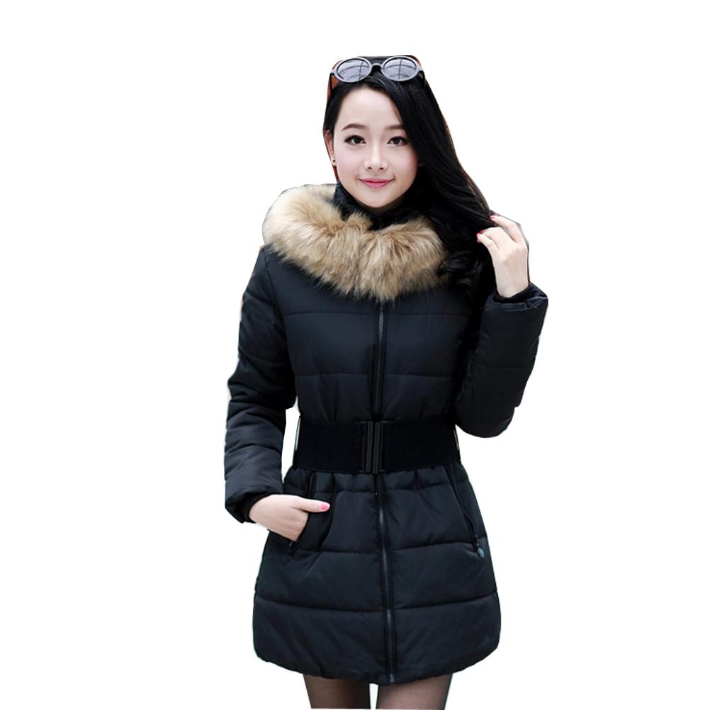 2016 women winter fashion coat paragraph Slim Korean Girls padded belt fur collar parka quilted jacket puffer - Bandao global Group store