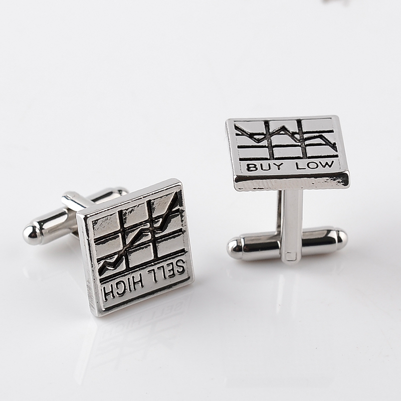 Buy Low Sell High Square Business Trader Men French Cufflinks For Men Cuff Botton(China (Mainland))