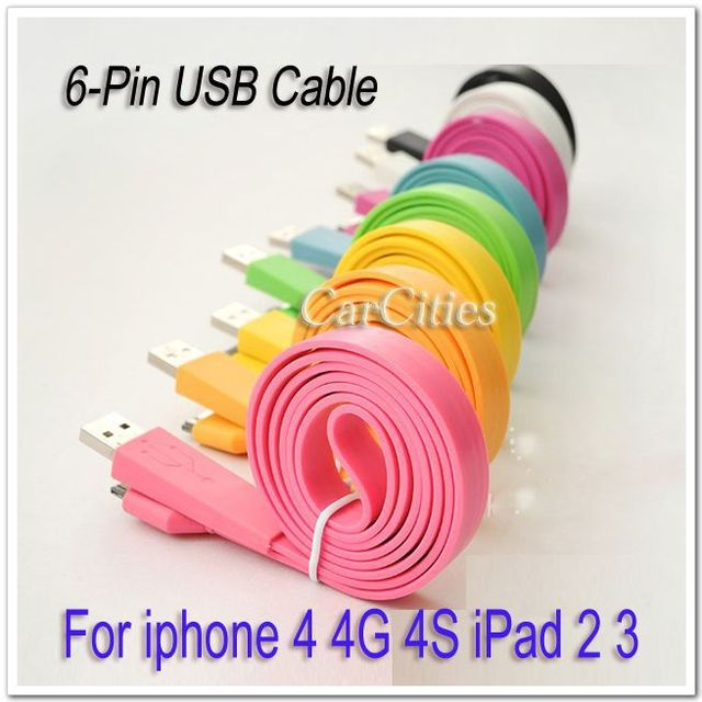 USB cable 6-Pin Flat Hi Speed USB 2-In-1 Charging Data Sync Cable For iphone 4 4G 4S iPad 2 3 connecting to PC B412-B419