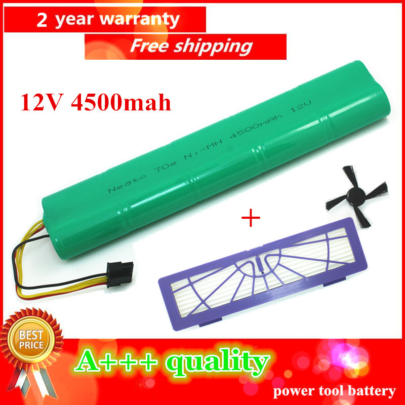 12V 4500mAh Replacement battery for Neato Botvac 70e 75 80 85 D75 D8 D85 Vacuum Cleaner battery with HEPA/Filter and Side Brush(China (Mainland))
