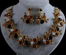 Fashion bridal Wedding Jewelry Sets simple india style Topaz crystal rhinestone Necklace earrings set  party jewelry