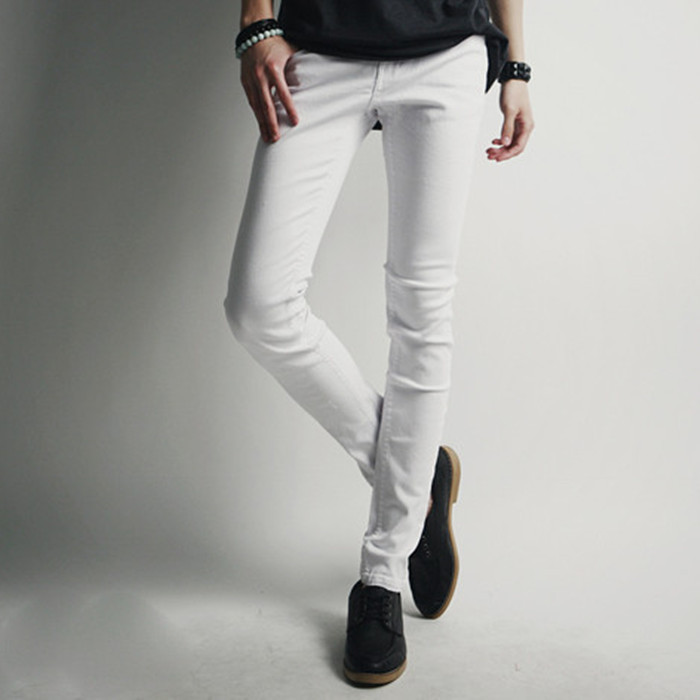 men's white super skinny jeans - Jean Yu Beauty