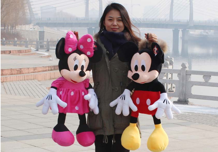 Hot sale ! 50CM 2014 Hot Sale new ONE PCS American Lovely Mickey Mouse Or Minnie Mouse Stuffed animals plush Toy free shipping(China (Mainland))