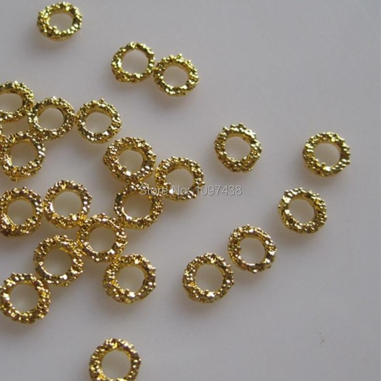 new arrive 3D 100pcs/bag Gold Circle Nail Decoration Metal Shinny Deco Metal Nail Art Decoration glitter jewelry 6MM J-4(China (Mainland))