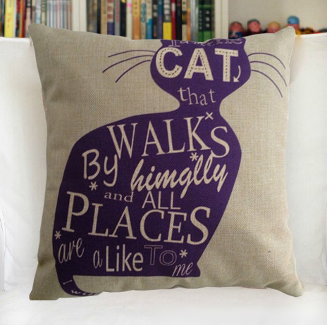 Vintage Personality Cotton Linen Purple cat Cushion Cover Pillow Case Furniture accessories(China (Mainland))