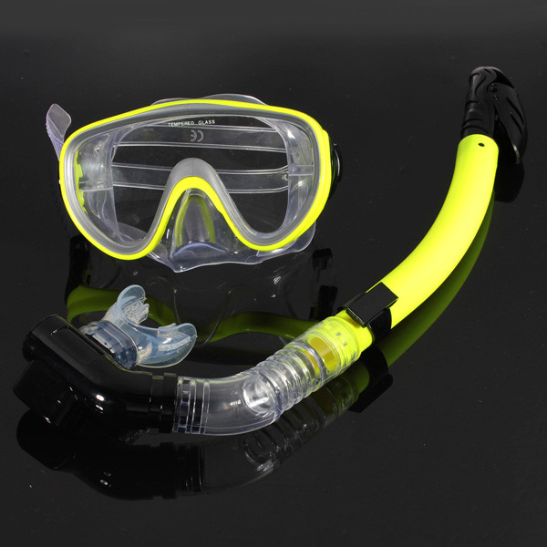 New Yellow PVC Scuba Snorkeling Diving Swimming Anti-Fog Goggles Mask Glasses Dry Snorkel Set Dive Diving Glasses Snork(China (Mainland))
