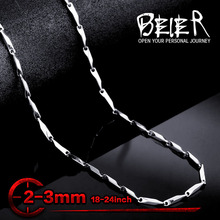 Buy Beier stainless steel necklace melon seed new twist 2mm/3mm trendy chain necklace boy man necklace chain Silver Color BN1024 for $1.89 in AliExpress store