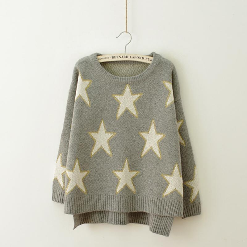 Womens Knitted Sweater Star Pattern Autumn Winter Ladies Jumper Long Sleeve P...