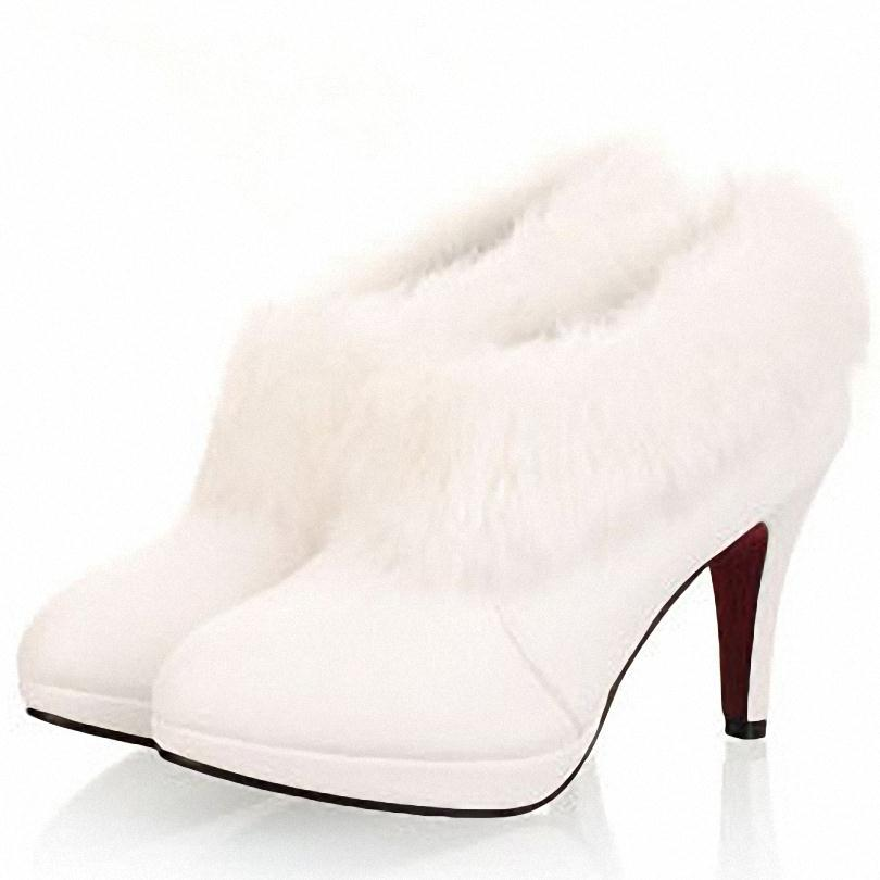 Big Size 34-43 White Fur Boots Fashion Single Boots Winter Women's High Heel Wedding Shoes Ankle Boots New Arrival(China (Mainland))