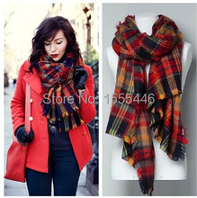 Winter 2014 font b Tartan b font Poppy Scarf Spain Luxury Brand Cashmere Oversized Pashminas And