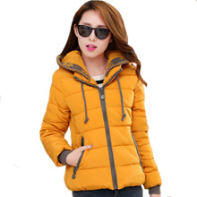 New 2016 Women Hooded Short Jacket Autumn Winter Warm Down Coat Casual Cotton-padded Jackets Parka Female Slim Outerwear ZJ073