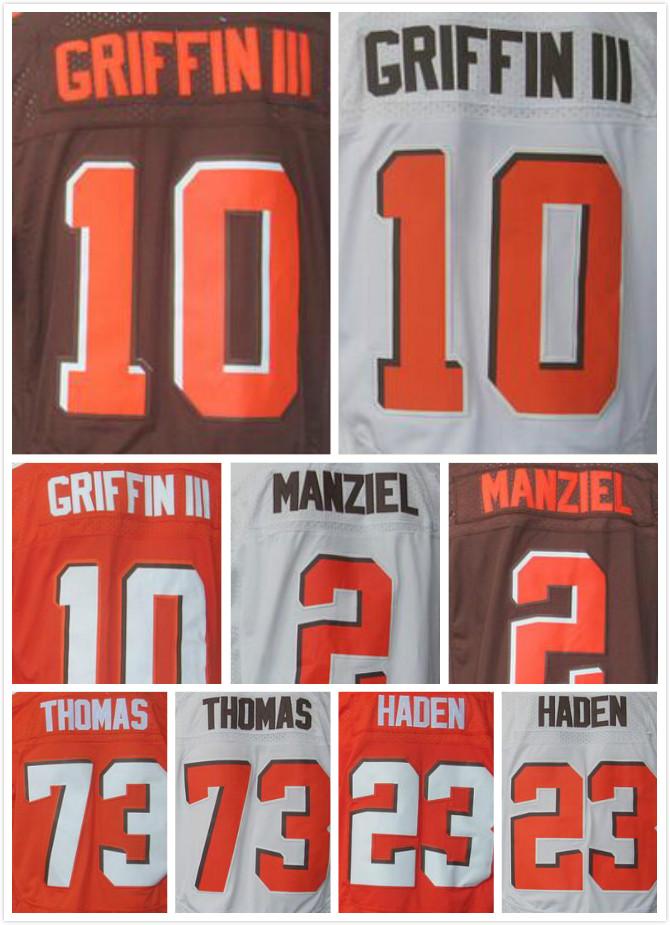 Stitched 10 Robert Griffin III Jerseys Orange White 23 Joe Haden 2 Johnny Manziel 73 Joe Thomas Elite Jerseys(China (Mainland))