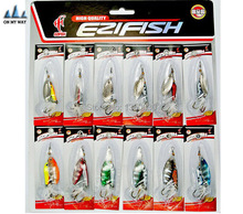 Hot 12pcs/set Fishing Lure kit/set Mixed color/Size/Weight//Diving depth Metal Spoon Spinner Lure fishing tackle free 40