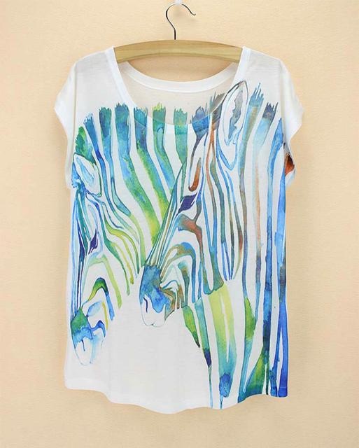 Новый 2015 лето женщины футболки мода zebra для печати топы для женщин с коротким рукавом повседневная тис женщины новинка шаблон футболка