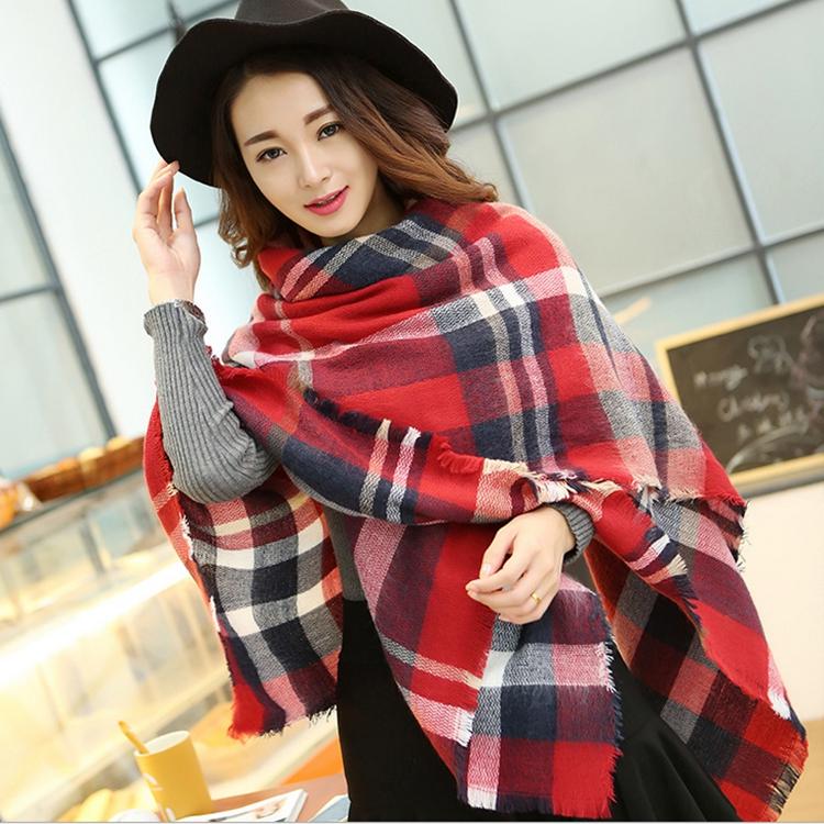 Fashion classic brand Za Winter Autumn scarf Women Knit oversize blanket font b tartan b font