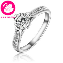 Free Shipping! Charm Platinum Plated & With Side Stones 1.6 CT Brilliant Cut Grade AAA Cubic Zircon Diamond Wedding Ring (0750)(China (Mainland))