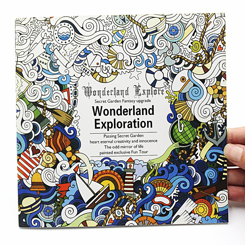 1 PCS New 24 Pages English Version Wonderland Exploration Coloring Book For Adult Relieve Stress Graffiti Drawing Art Book