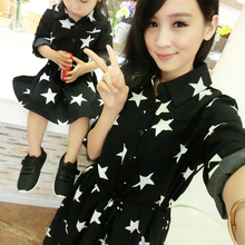 Authentic 2016 Mom and Daughter Dress with Belt Long Summer Vacation Dresses Family Beach Dress Chiffon Girls & Women Dress