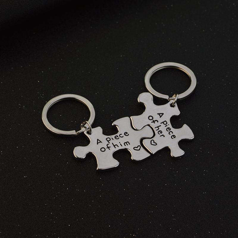"""A piece of her, A piece of him"" Puzzle Couple Necklace Silver"