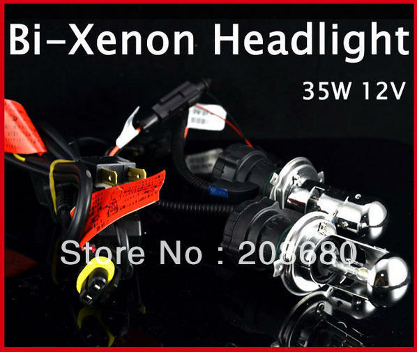 2X Bi Xenon 35W H4 12V AC HID Automotive Headlight Replacement Bulbs H4-3 BiXenon Hi/Lo Beam Lamp wire AAA  -  KALAWA L Store store