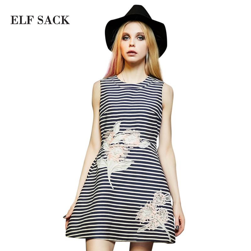 Elf SACK spring female fashion elegant sleeveless stripe one-piece dress p