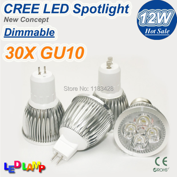 30PCS DHL Free shipping High power CREE Led Lamp Dimmable GU10 12W 110-240V Led spot Light Spotlight led bulb downlight lighting(China (Mainland))