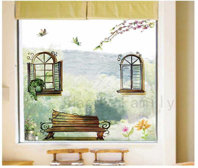 Free Shipping New False Window Wall Stickers Living Room Bedroom Green Wallpaper Home Art Decoration Removable Wall Paster A0062(China (Mainland))