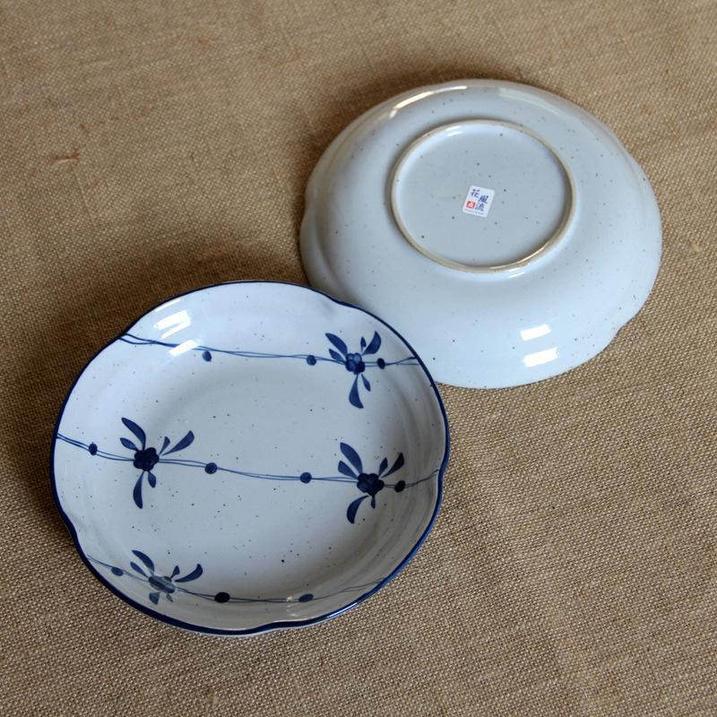 zakka Japanese flower-shaped pottery Caidie Seasons Dream color blue flower Singles wind ceramic dish<br><br>Aliexpress