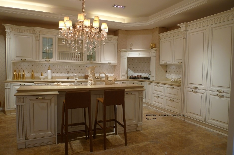 Cream Colored Cherry Kitchen Cabinet LH SW068 In Kitchen Cabinets