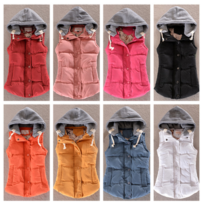Вниз жилет женщины приталенный жилет тепловой хлопок бархат жилет xl женское 9 цвет аутентичные Colote свободного покроя пальто