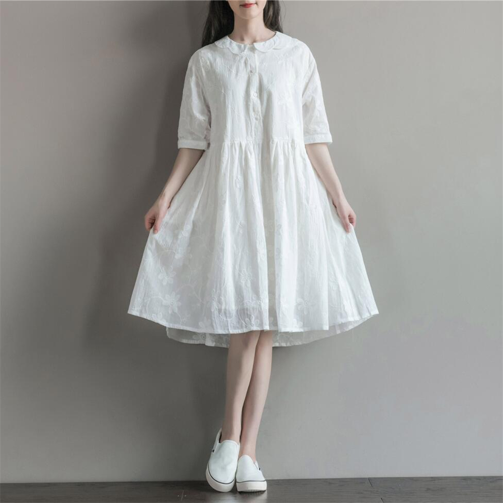 2016 Summer Women Cotton Embroidery Art Style White Dresses Loose Casual Peter Pan Collar Large Plus Size Female Fat Dress(China (Mainland))