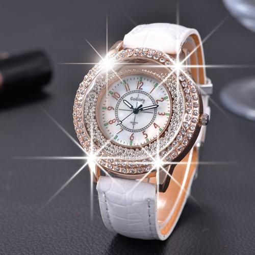 Gogoey 2015 новинка дамы кожа кристалл алмаза горный хрусталь часы женщины красоты платье кварцевые наручные часы часы Reloj ...