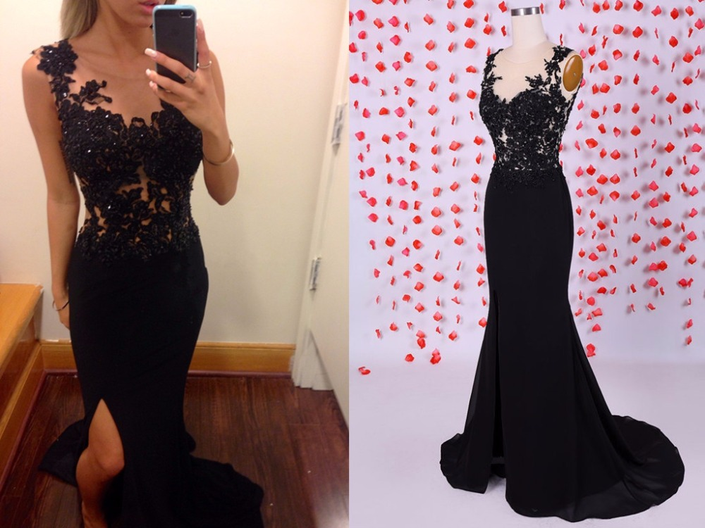 Compare Prices on High Slit Sleeveless Black Prom Dress- Online ...