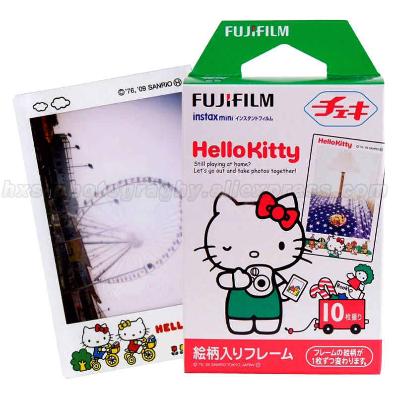 Original 10pcs Fujifilm Instax Mini 8 Film Fuji Photo Paper Hello Kitty For Polaroid 8 50s 7s 7 90 25 Share SP-1 Instant Camera(China (Mainland))