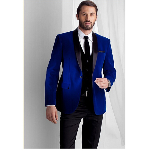 2016 New Fashion Royal Blue Velvet Jacket Groom Tuxedos Black Lapel Best Men Suit Prom Tuxedos For Men Wedding Suits With Pants(China (Mainland))