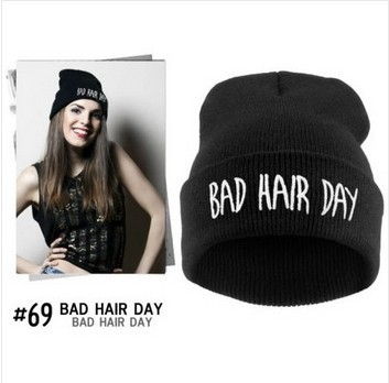 black bad hair day hiphop knitted cap men women beanie