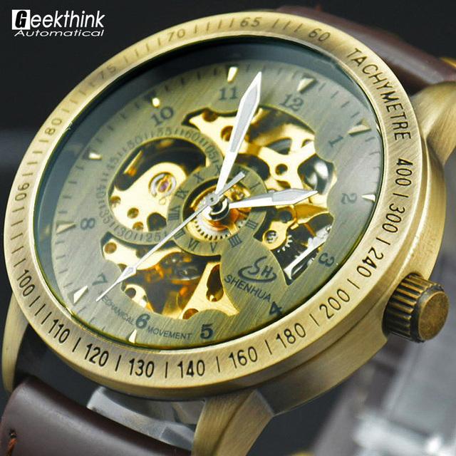 Старинные бронзовые мужчины наручные часы скелет часы мужской кожаный ремешок антикварная стимпанк свободного покроя автоматическая скелет механические часы