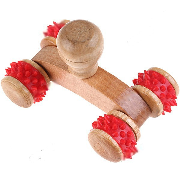WarmSun Wooden Handheld Push Massager Handy Mini Full Body Massager Healthy Relax Roller Massager with 4 Wheels - Red HKH-65054(China (Mainland))
